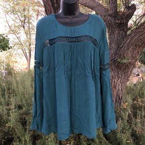 MOSSIMO Teal Green Boho Blouse Shirt